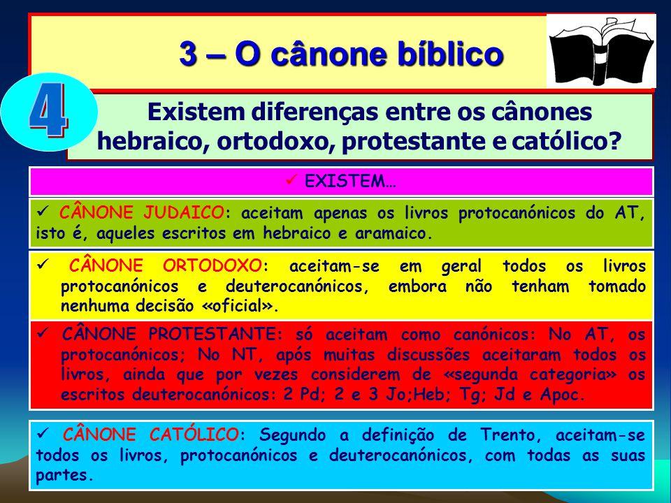 3 – O cânone bíblico 4. Existem diferenças entre os cânones hebraico, ortodoxo, protestante e católico