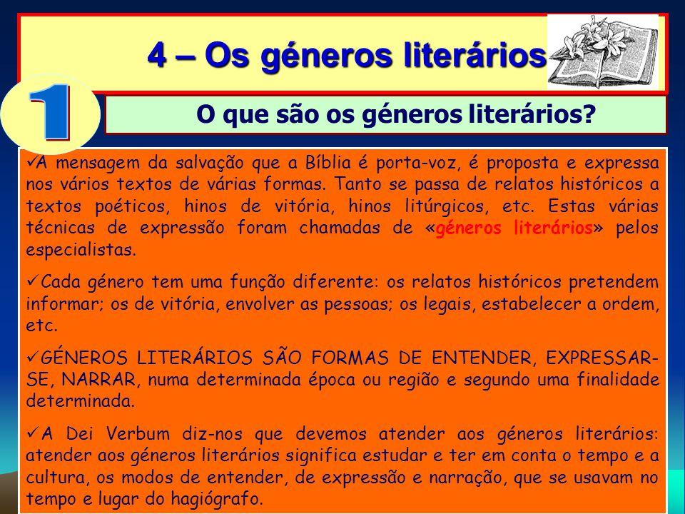 4 – Os géneros literários O que são os géneros literários