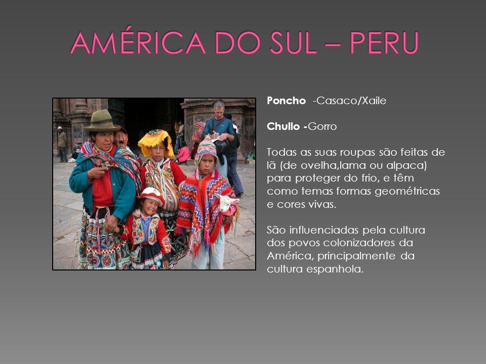 América do Sul – Peru Poncho -Casaco/Xaile Chullo -Gorro