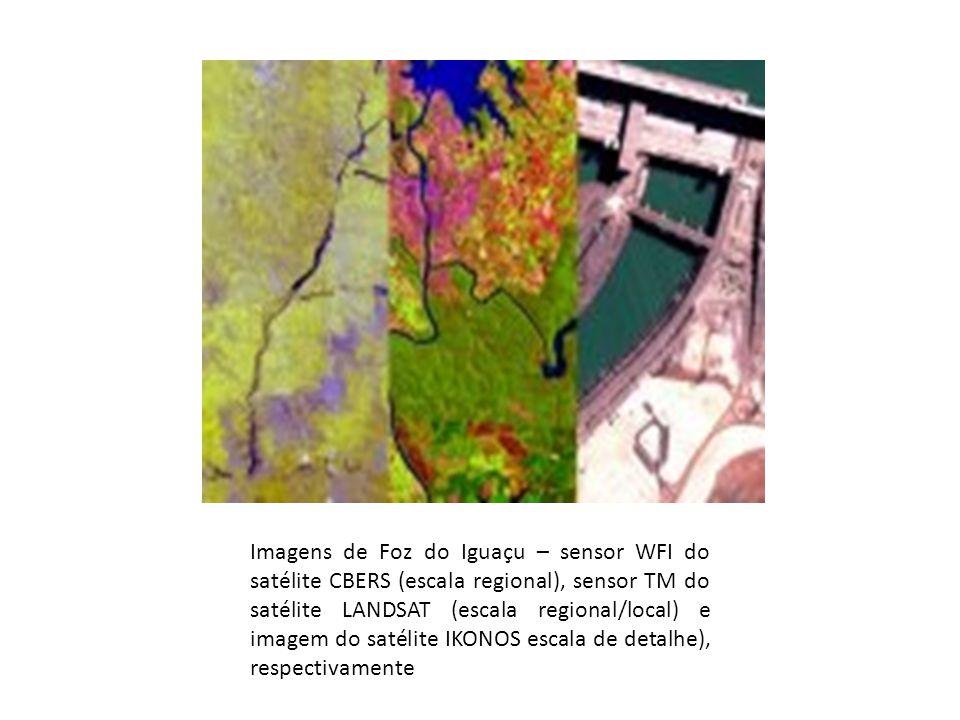 Imagens de Foz do Iguaçu – sensor WFI do satélite CBERS (escala regional), sensor TM do satélite LANDSAT (escala regional/local) e imagem do satélite IKONOS escala de detalhe), respectivamente