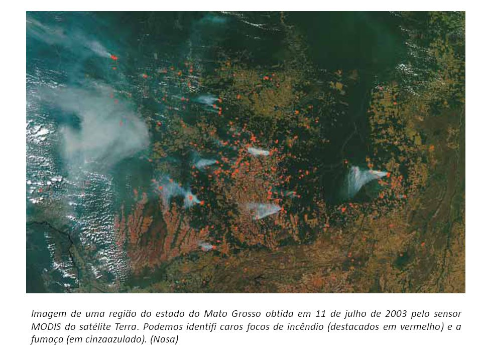 Imagem de uma região do estado do Mato Grosso obtida em 11 de julho de 2003 pelo sensor MODIS do satélite Terra.