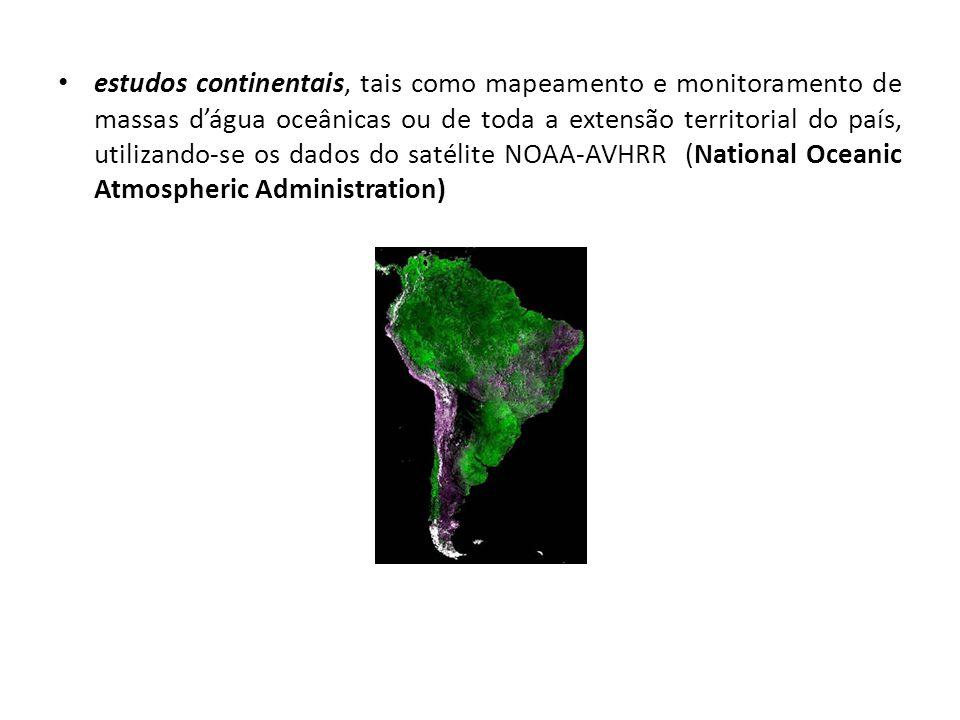 estudos continentais, tais como mapeamento e monitoramento de massas d'água oceânicas ou de toda a extensão territorial do país, utilizando-se os dados do satélite NOAA-AVHRR (National Oceanic Atmospheric Administration)