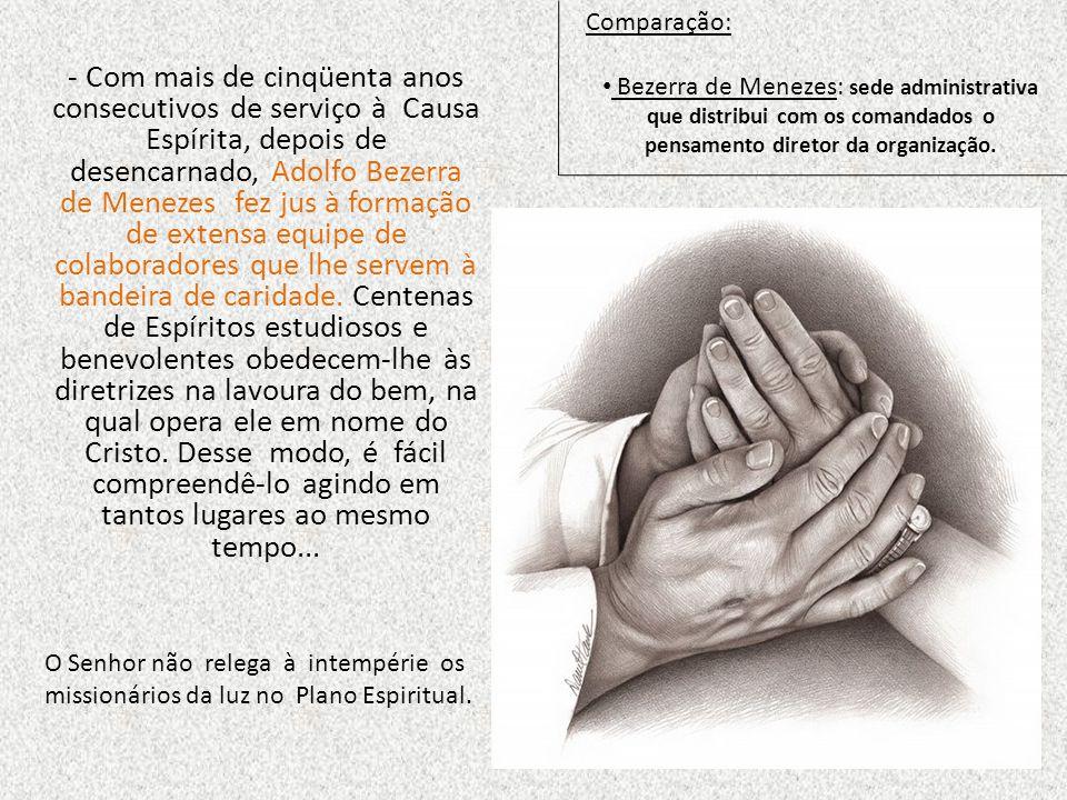 Comparação: Bezerra de Menezes: sede administrativa que distribui com os comandados o pensamento diretor da organização.
