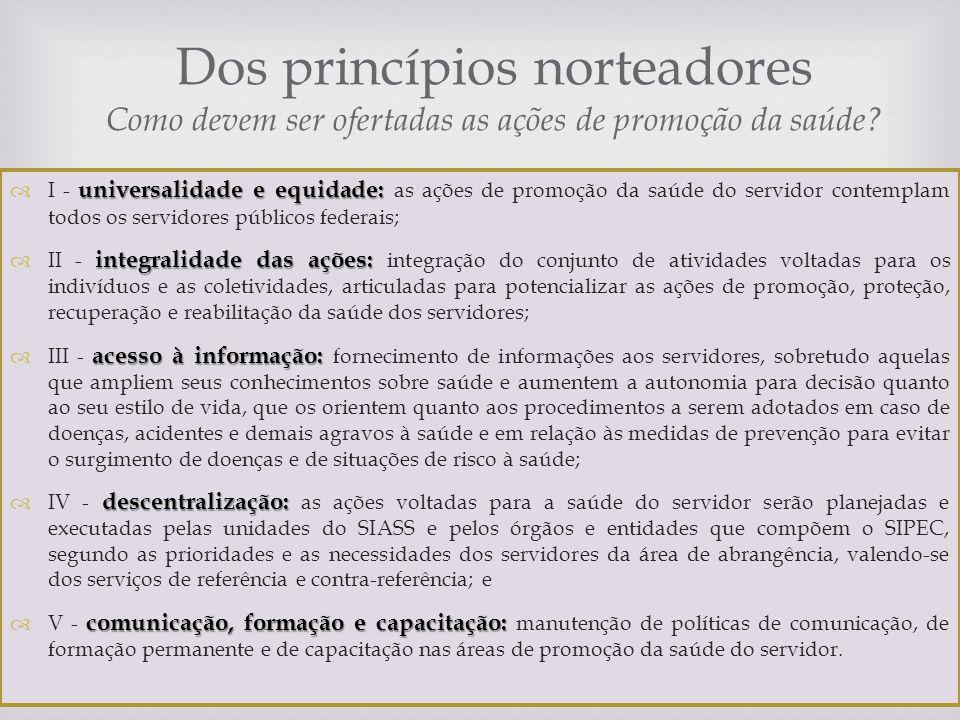 Dos princípios norteadores Como devem ser ofertadas as ações de promoção da saúde