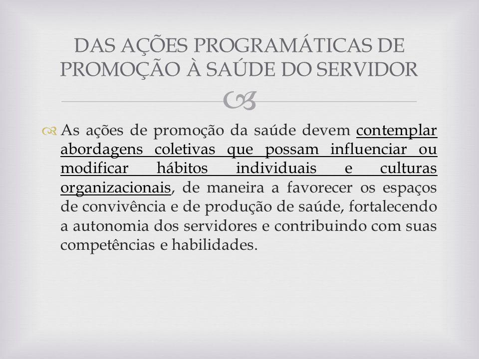 DAS AÇÕES PROGRAMÁTICAS DE PROMOÇÃO À SAÚDE DO SERVIDOR