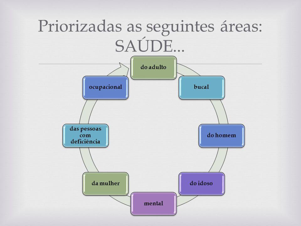 Priorizadas as seguintes áreas: SAÚDE...
