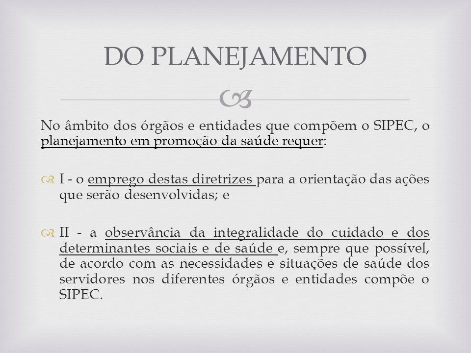 DO PLANEJAMENTO No âmbito dos órgãos e entidades que compõem o SIPEC, o planejamento em promoção da saúde requer:
