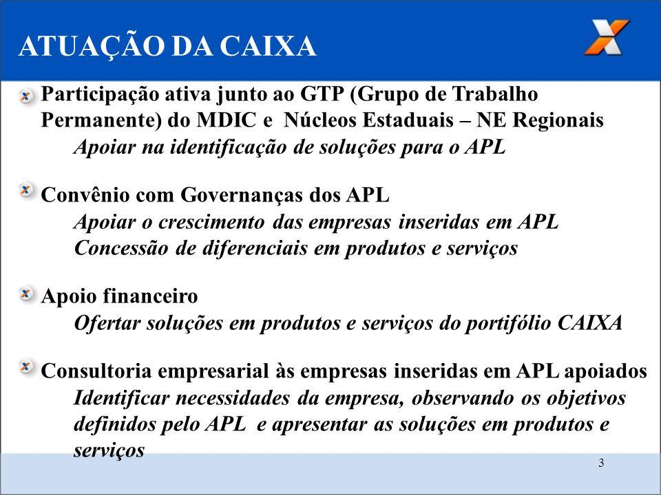ATUAÇÃO DA CAIXA Participação ativa junto ao GTP (Grupo de Trabalho Permanente) do MDIC e Núcleos Estaduais – NE Regionais.