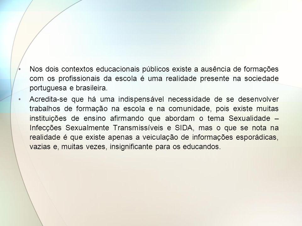 Nos dois contextos educacionais públicos existe a ausência de formações com os profissionais da escola é uma realidade presente na sociedade portuguesa e brasileira.