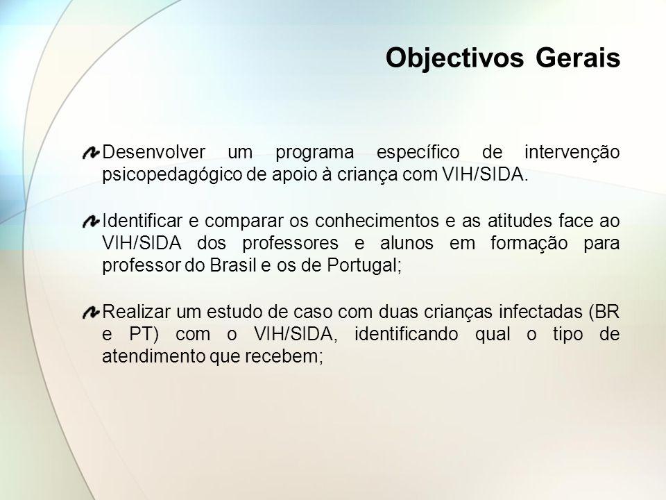 Objectivos Gerais Desenvolver um programa específico de intervenção psicopedagógico de apoio à criança com VIH/SIDA.