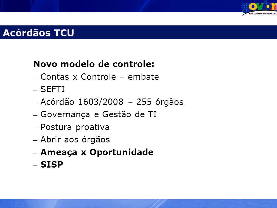 Acórdãos TCU Novo modelo de controle: Contas x Controle – embate SEFTI