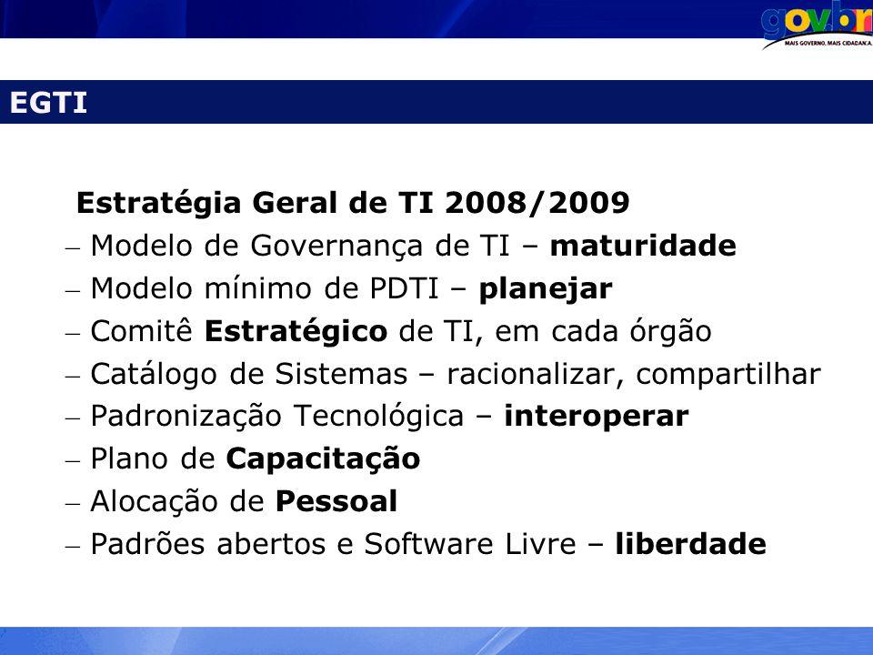 EGTI Estratégia Geral de TI 2008/2009. Modelo de Governança de TI – maturidade. Modelo mínimo de PDTI – planejar.