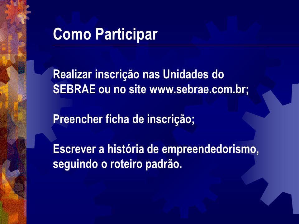 Como Participar Realizar inscrição nas Unidades do SEBRAE ou no site www.sebrae.com.br; Preencher ficha de inscrição;
