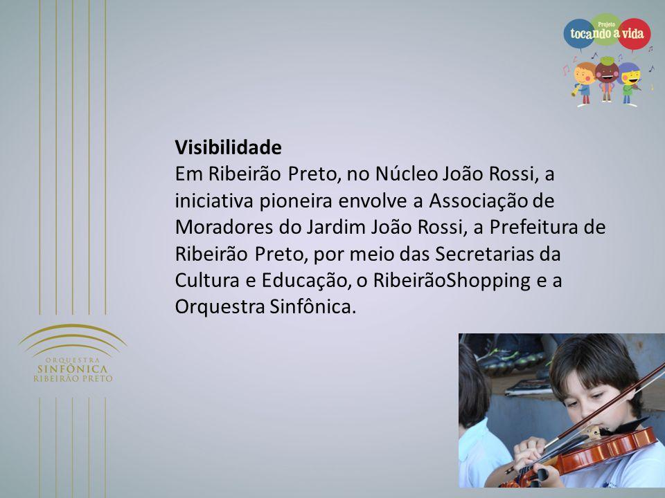 Visibilidade Em Ribeirão Preto, no Núcleo João Rossi, a iniciativa pioneira envolve a Associação de Moradores do Jardim João Rossi, a Prefeitura de Ribeirão Preto, por meio das Secretarias da Cultura e Educação, o RibeirãoShopping e a Orquestra Sinfônica.