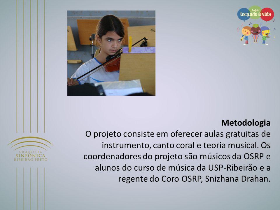 Metodologia O projeto consiste em oferecer aulas gratuitas de instrumento, canto coral e teoria musical. Os coordenadores do projeto são músicos da OSRP e alunos do curso de música da USP-Ribeirão e a regente do Coro OSRP, Snizhana Drahan.