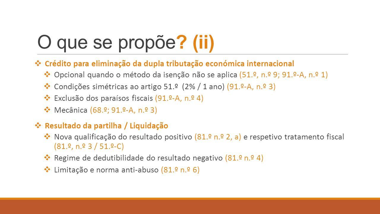 O que se propõe (ii) Crédito para eliminação da dupla tributação económica internacional.