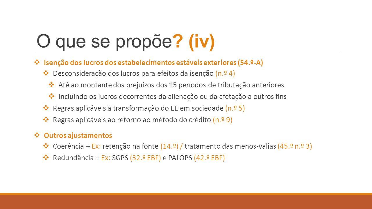 O que se propõe (iv) Isenção dos lucros dos estabelecimentos estáveis exteriores (54.º-A)