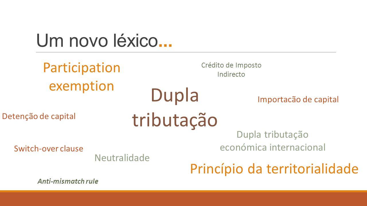 Dupla tributação Um novo léxico... Participation exemption
