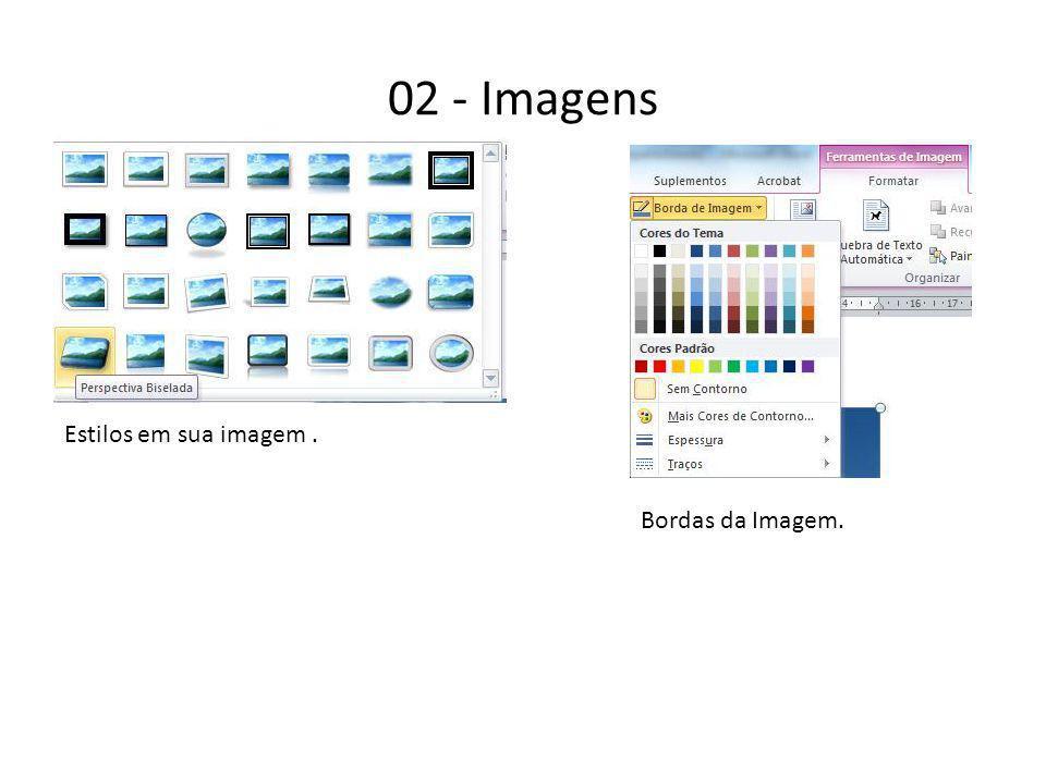 02 - Imagens Estilos em sua imagem . Bordas da Imagem.