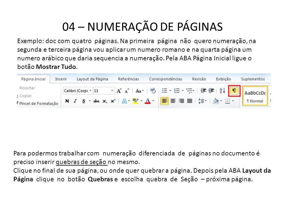 04 – NUMERAÇÃO DE PÁGINAS