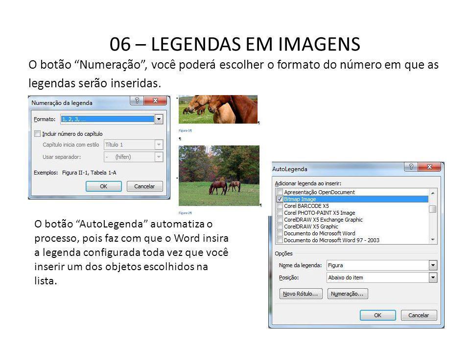 06 – LEGENDAS EM IMAGENS O botão Numeração , você poderá escolher o formato do número em que as. legendas serão inseridas.