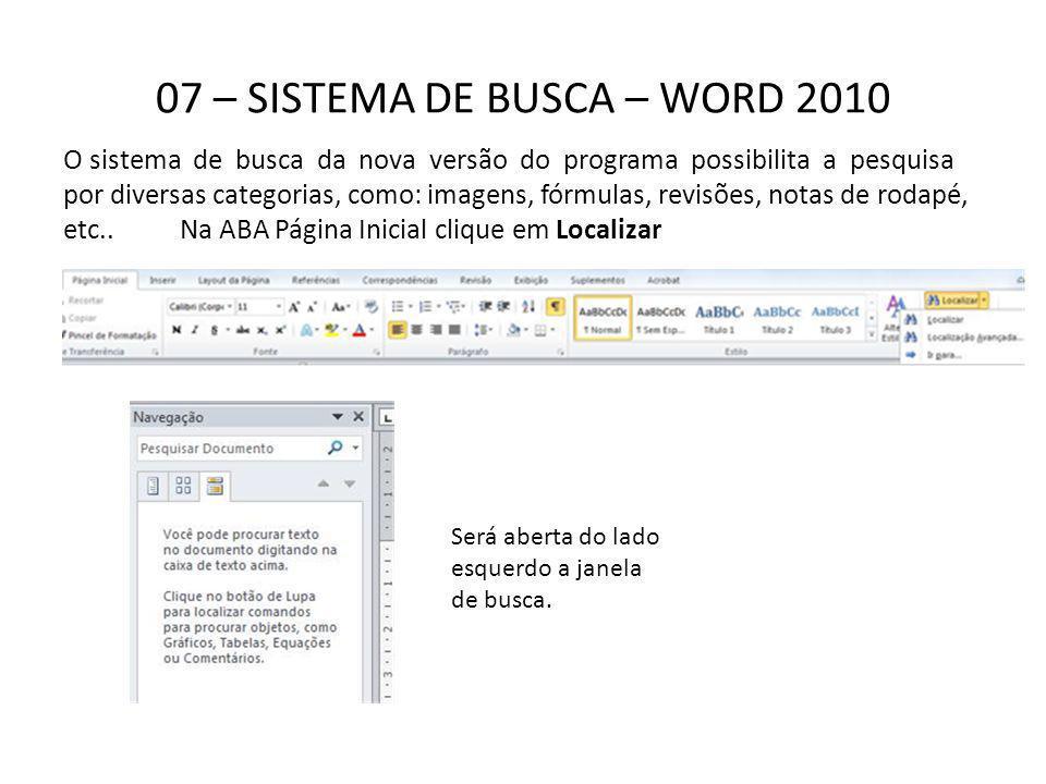 07 – SISTEMA DE BUSCA – WORD 2010