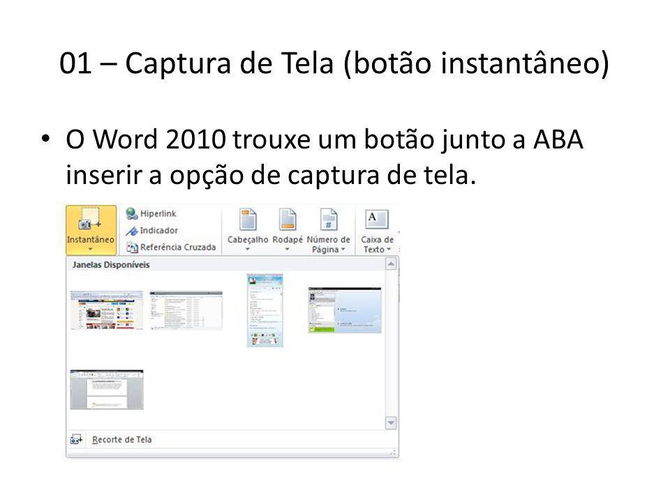 01 – Captura de Tela (botão instantâneo)