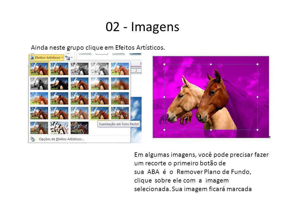 02 - Imagens Ainda neste grupo clique em Efeitos Artísticos.