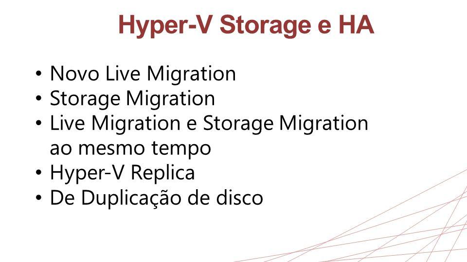 Hyper-V Storage e HA Novo Live Migration Storage Migration