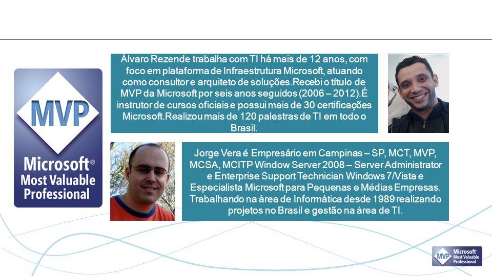 Álvaro Rezende trabalha com TI há mais de 12 anos, com foco em plataforma de Infraestrutura Microsoft, atuando como consultor e arquiteto de soluções.Recebi o título de MVP da Microsoft por seis anos seguidos (2006 – 2012).É instrutor de cursos oficiais e possui mais de 30 certificações Microsoft.Realizou mais de 120 palestras de TI em todo o Brasil.