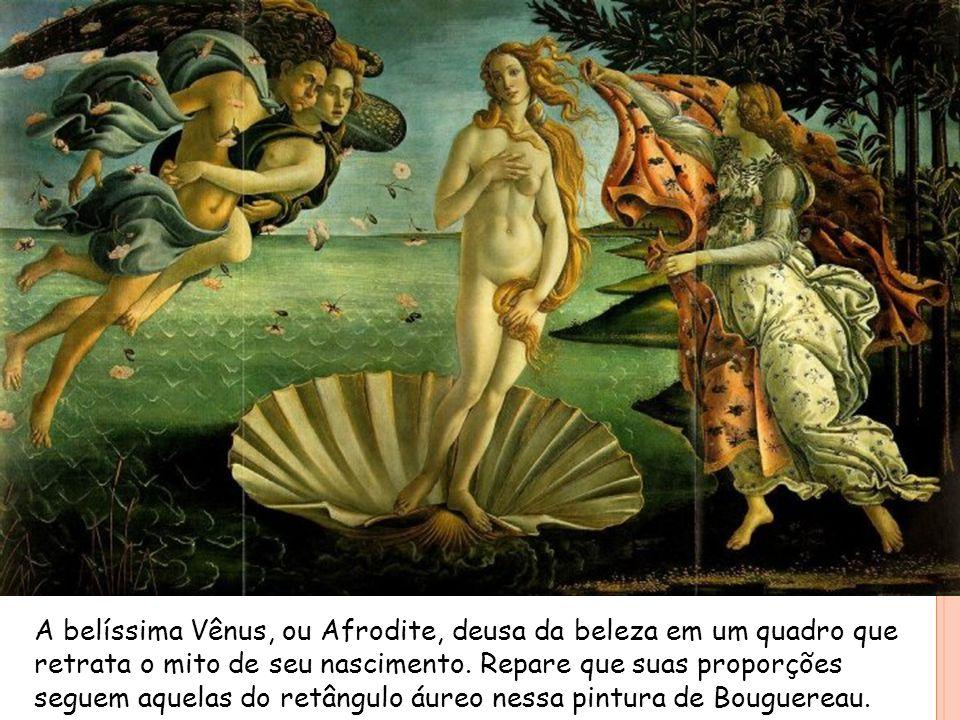 A belíssima Vênus, ou Afrodite, deusa da beleza em um quadro que retrata o mito de seu nascimento.