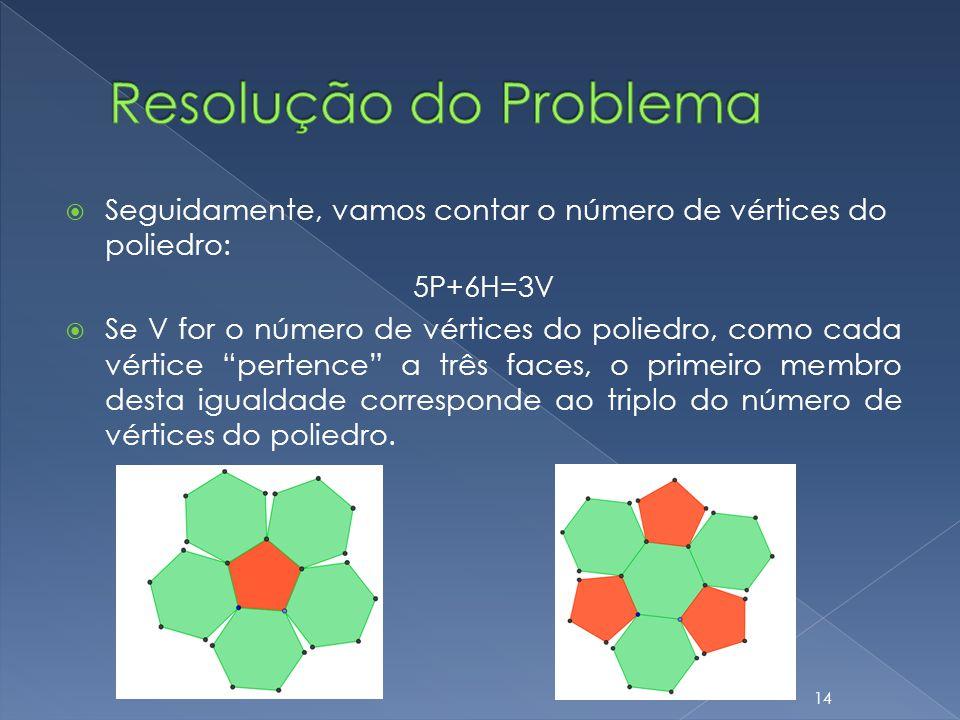 Resolução do Problema Seguidamente, vamos contar o número de vértices do poliedro: 5P+6H=3V.