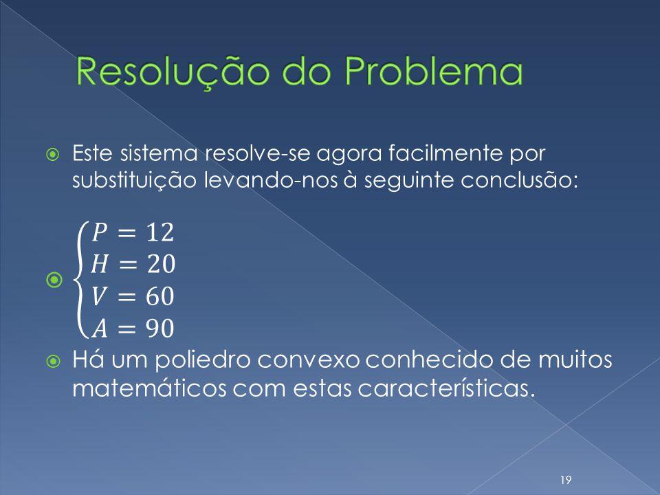 Resolução do Problema 𝑃=12 𝐻=20 𝑉=60 𝐴=90