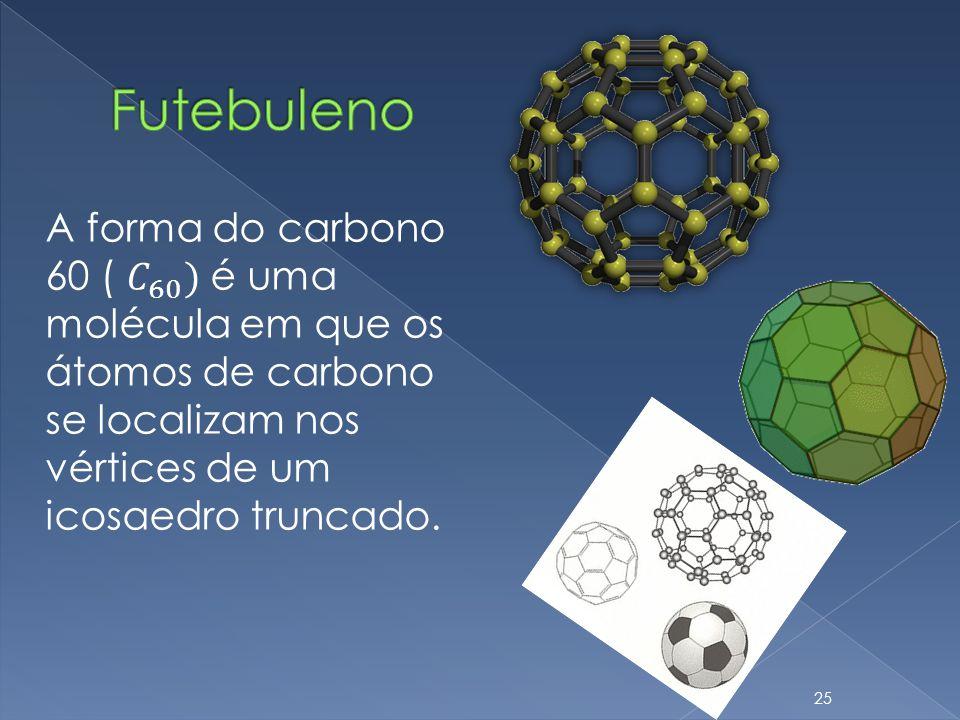 Futebuleno A forma do carbono 60 ( 𝐶 60 ) é uma molécula em que os átomos de carbono se localizam nos vértices de um icosaedro truncado.