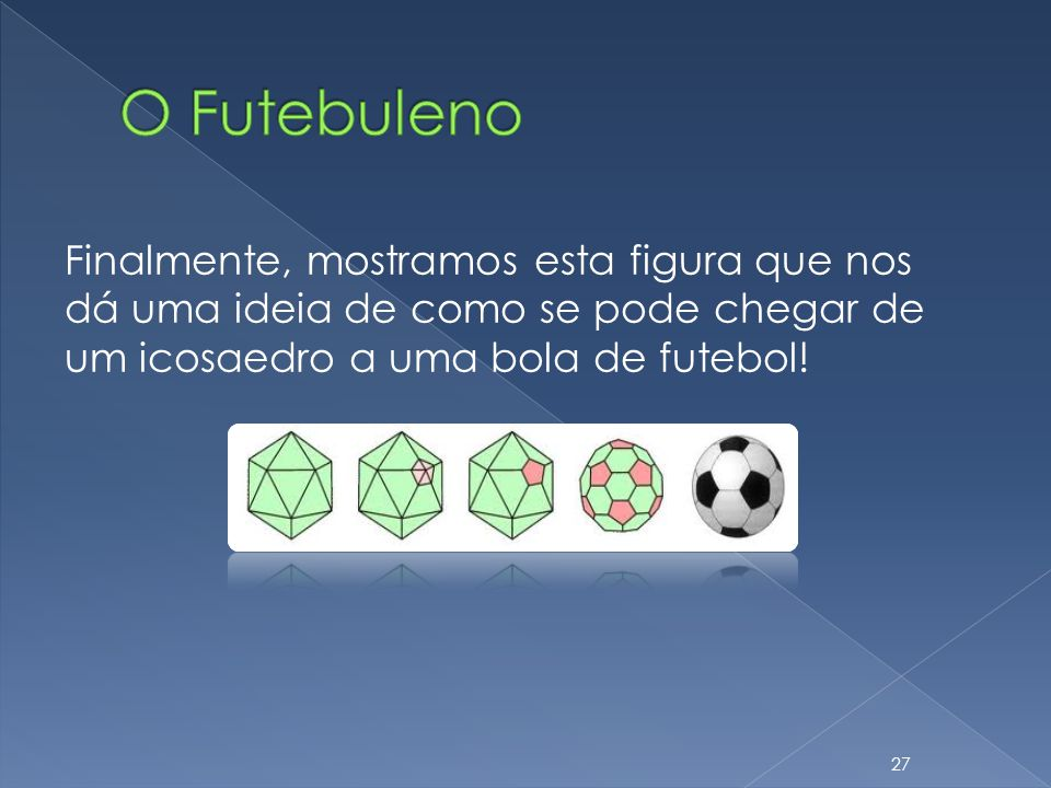 O Futebuleno Finalmente, mostramos esta figura que nos dá uma ideia de como se pode chegar de um icosaedro a uma bola de futebol!