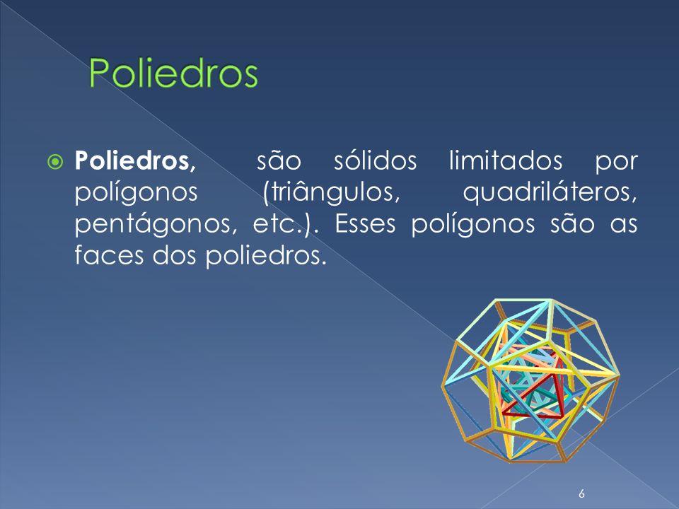 Poliedros Poliedros, são sólidos limitados por polígonos (triângulos, quadriláteros, pentágonos, etc.).