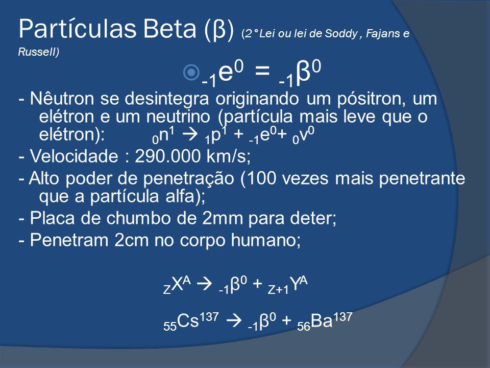 Partículas Beta (β) (2°Lei ou lei de Soddy , Fajans e Russell)