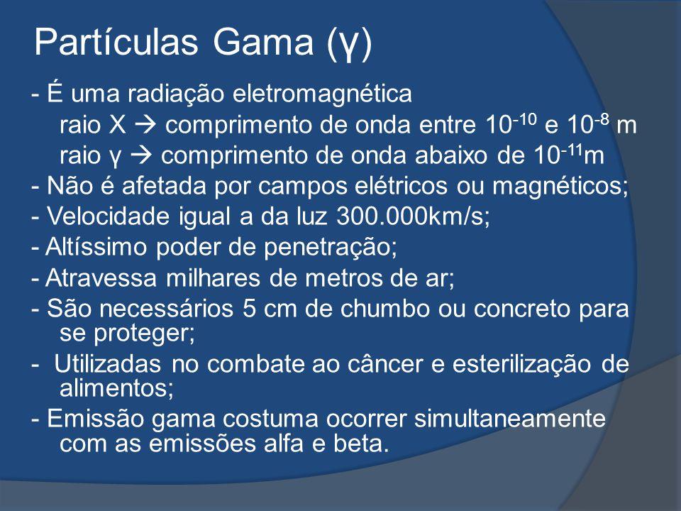 Partículas Gama (γ) - É uma radiação eletromagnética
