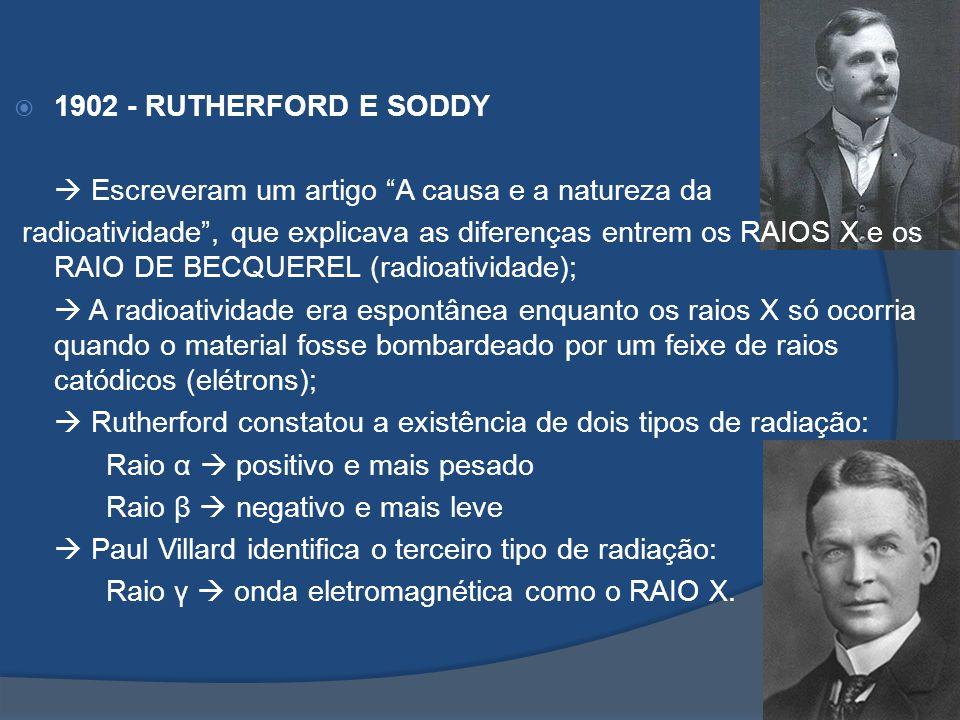 1902 - RUTHERFORD E SODDY  Escreveram um artigo A causa e a natureza da.