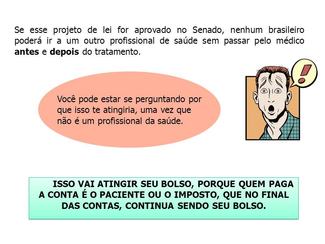 Se esse projeto de lei for aprovado no Senado, nenhum brasileiro poderá ir a um outro profissional de saúde sem passar pelo médico antes e depois do tratamento.
