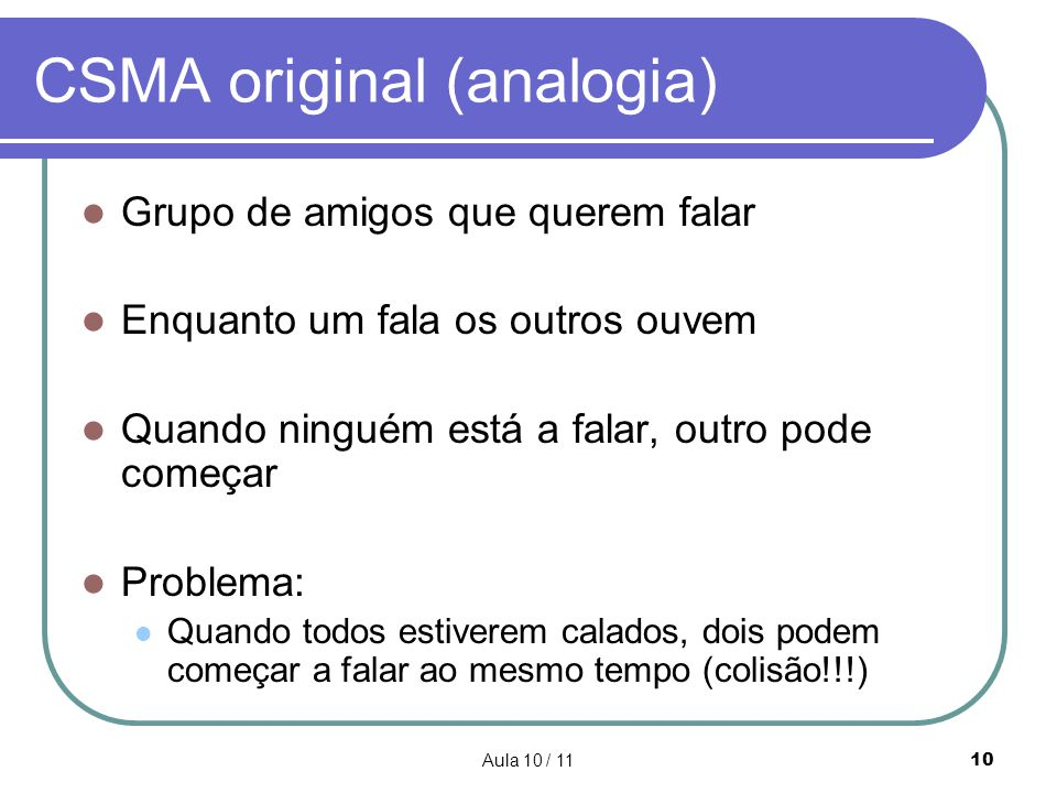 CSMA original (analogia)
