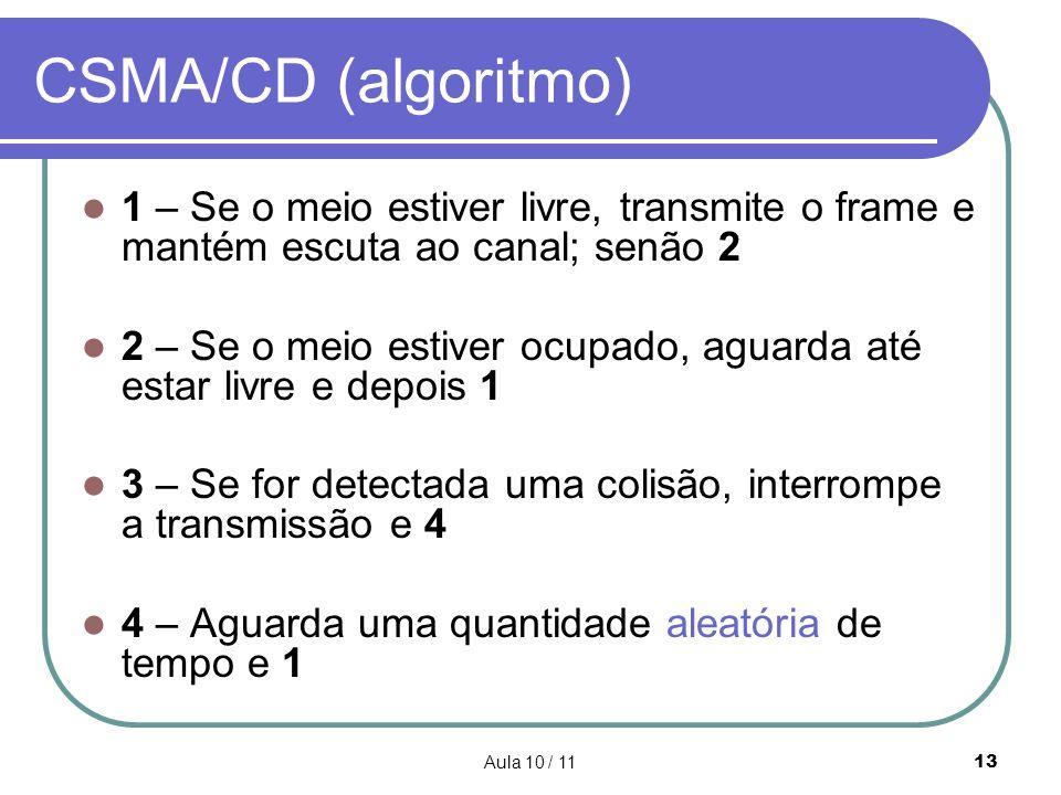 CSMA/CD (algoritmo) 1 – Se o meio estiver livre, transmite o frame e mantém escuta ao canal; senão 2.