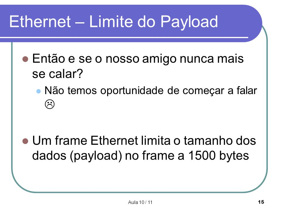 Ethernet – Limite do Payload
