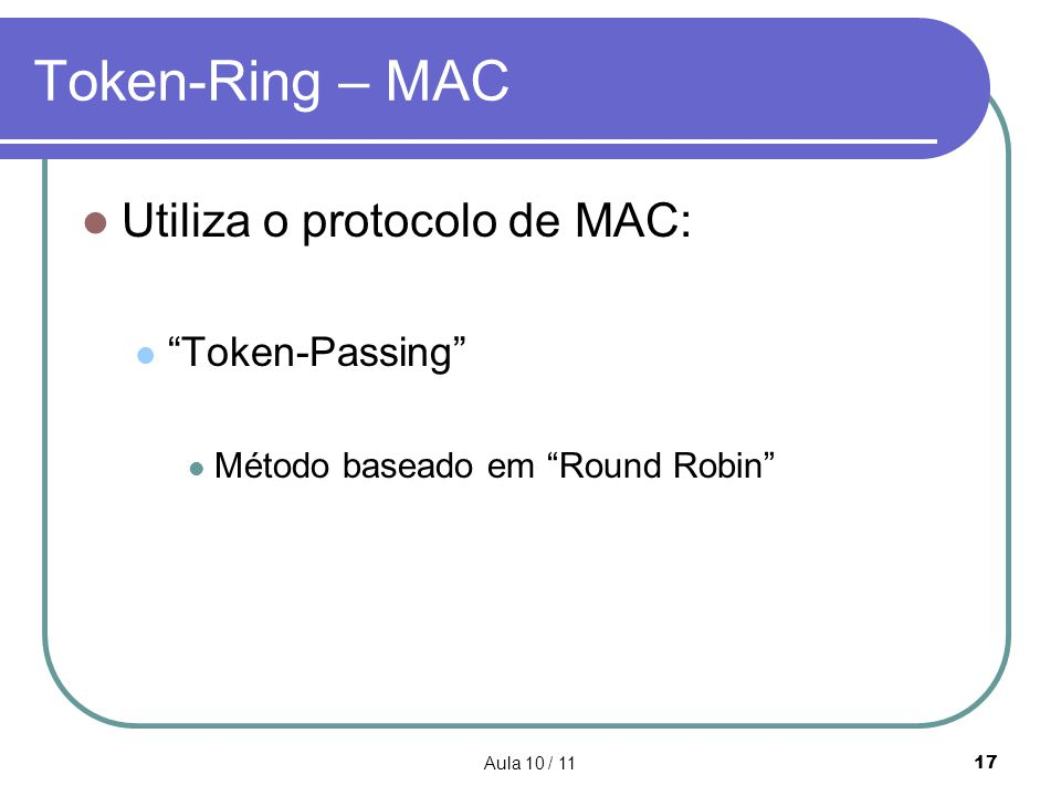 Token-Ring – MAC Utiliza o protocolo de MAC: Token-Passing