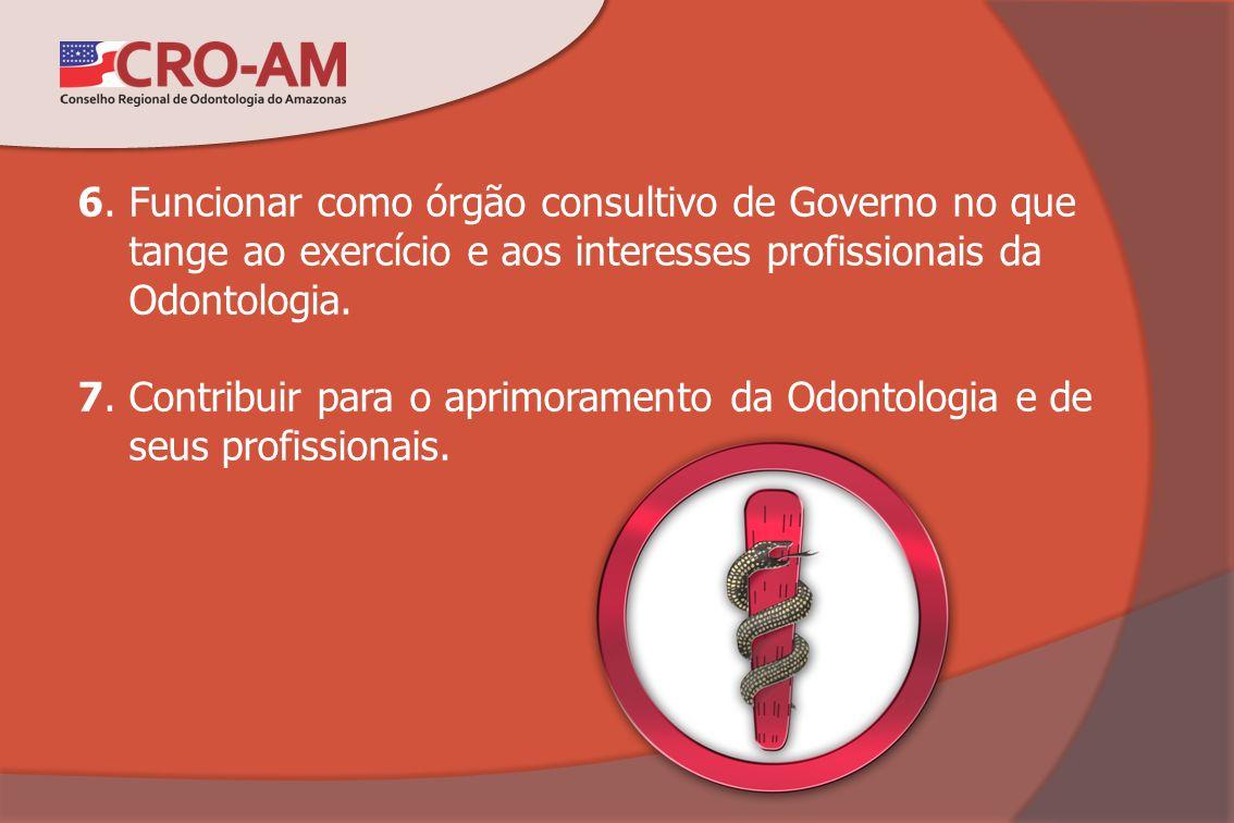 6. Funcionar como órgão consultivo de Governo no que tange ao exercício e aos interesses profissionais da Odontologia.