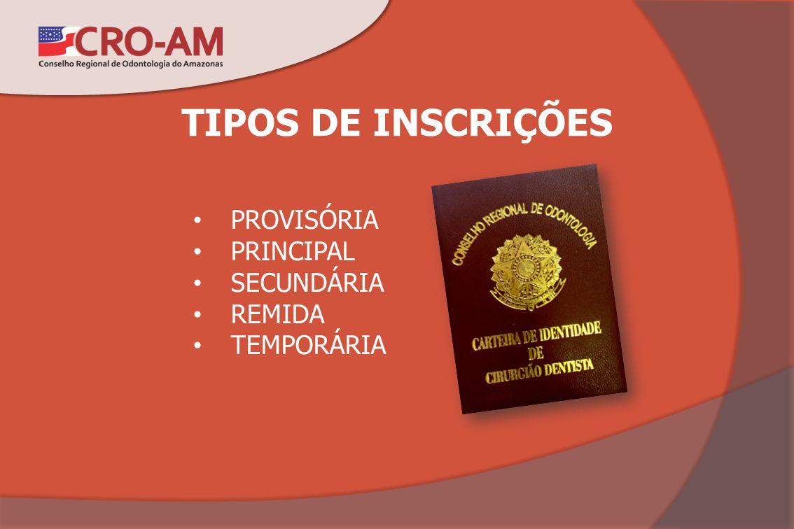 TIPOS DE INSCRIÇÕES PROVISÓRIA PRINCIPAL SECUNDÁRIA REMIDA TEMPORÁRIA