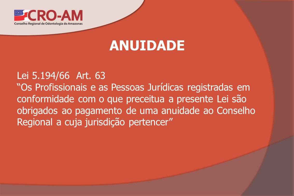 ANUIDADE Lei 5.194/66 Art. 63.