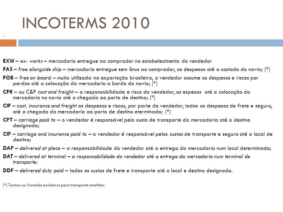 INCOTERMS 2010 EXW – ex- works – mercadoria entregue ao comprador no estabelecimento do vendedor.
