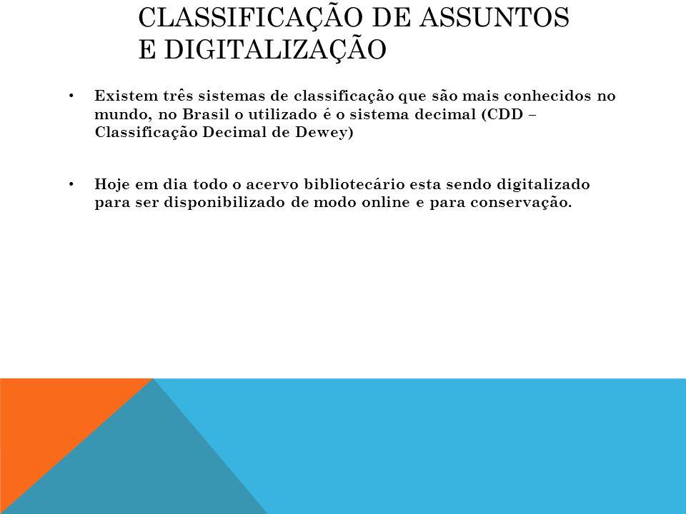 Classificação de assuntos e digitalização