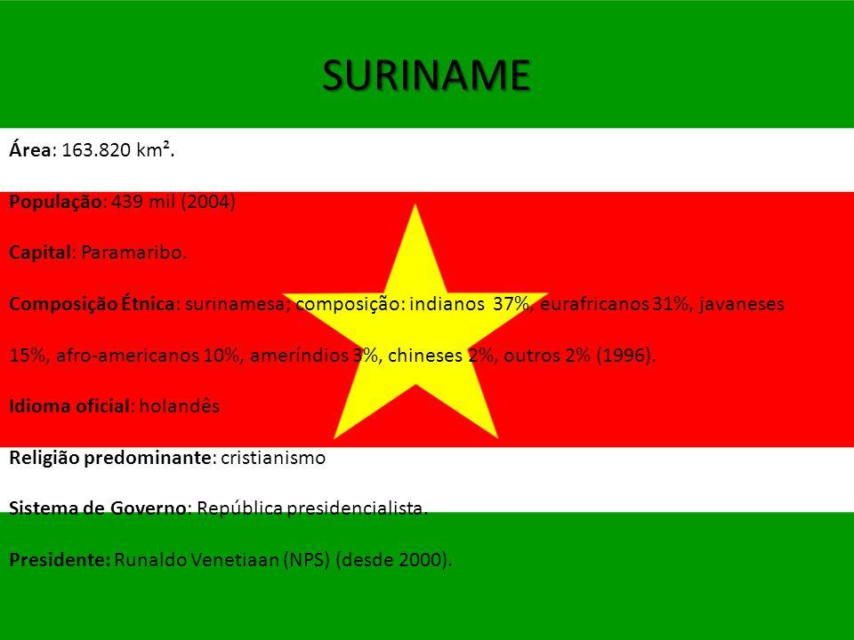 SURINAME Área: 163.820 km². População: 439 mil (2004)